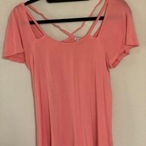 GUESS Pink Low Scoop and Low Back Shirt